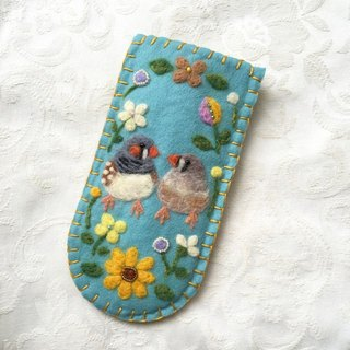 glasses case of zebra finches