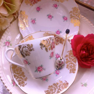 British bone china pink rose bouquet flower teacup coffee cup three-piece romantic afternoon tea Valentine's Day gift