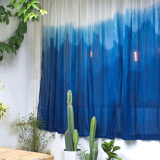 Qingshan gradient blue dyed custom gauze curtain / handmade blue dye / custom size can be processed finished curtains