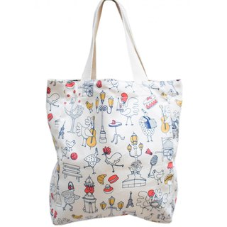 Parisian walk light double-sided tote bag Tablier Jardin du Luxembourg / Wax
