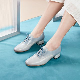 H THREE round head Oxford 3.4 heel shoes / fog white / heel shoes / leather shoes