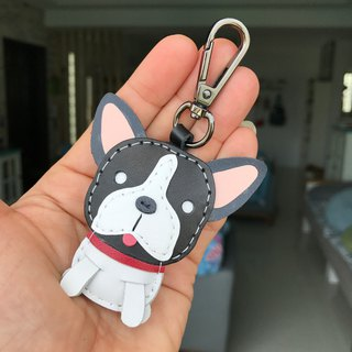25% off black and white method dog handmade hand-stitched leather keychain small size