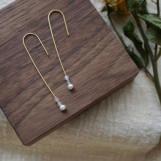 ITS-317 [Brass Minimalist Earrings Series] Mini Pearl Labradorite / Moonstone U-shaped Ear Hook Earrings