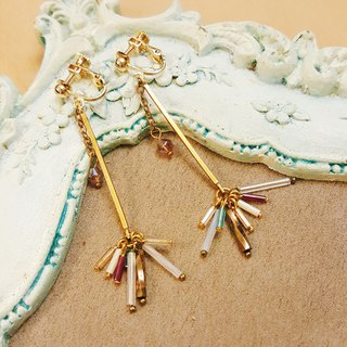 【Fireworks】 fairy stick hanging clip earrings