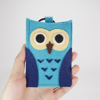 Cute Wind Double Card Holder - Blue Owl