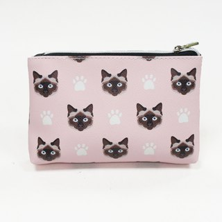 Siamese cat VS cat palm childlike rectangular zipper cosmetic bag / universal storage bag pink - love Shirley