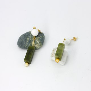 White jade matcha sheep earrings - plated sterling silver 22k ear needle