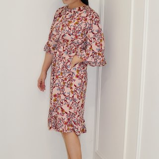 Flat 135X Taiwan designer series wave sleeve dress cotton pink vine cloth five-point sleeve