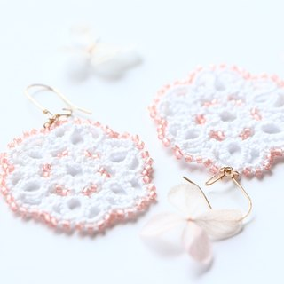 14kgf-Tatting lace pierced earrings(pink)