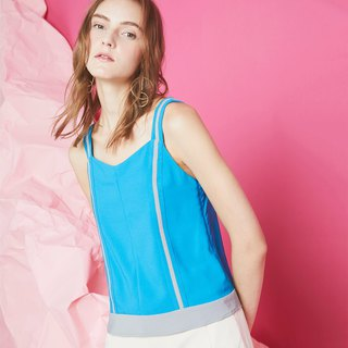 Paneled Piping Cami Top (Turquoise)
