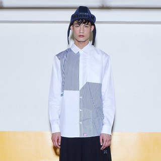 Slant Array - Diagonal Striped Shirt (Black and White)