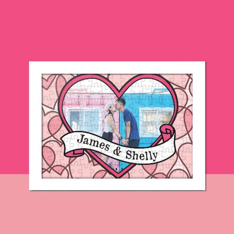 母親節禮物-個人化定製拼圖-Pink Heart款式