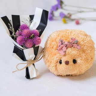 Soft little hedgehog with dry bouquet - Cream