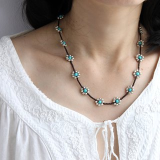 Silver Turquoise Daisy Flower Braided Necklaces Short Hippy Necklaces