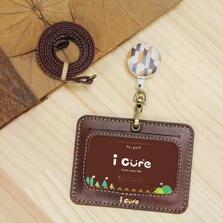 my life level manpower for Leather Badge Holder Group / introverted coffee leather hand-made card counting grip telescopic