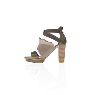 ZOODY / folding / handmade shoes / heel ankle sandals / green-brown
