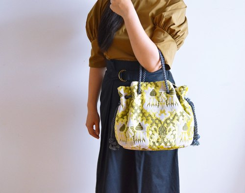 Satin rope mosque marine bag yellow large size