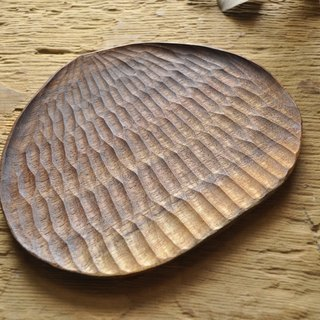 Big hexagonal - walnut hand carved chestnuts plate. Picnic / wood / cake dessert / carving / handmade