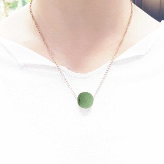 Titanium Steel Rose Gold Diffuser Necklace - Green 14mm Big Bead Aroma Rock