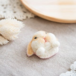 (Attach video teaching) Fat Dub lop ear rabbit head wool felt pin