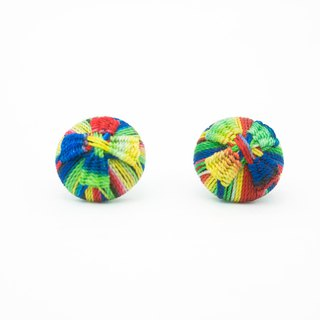 Circle dot Rainbow Focus Woven Stainless Steel Earrings Ear Clips 187