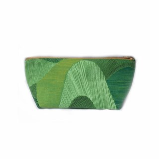 Canvas Zipper Pouch Large Makeup Bag Clutch - Abstract Mountains Green