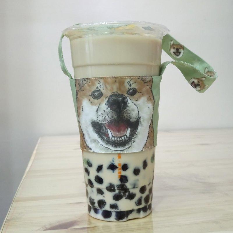 柴犬-雙面飲料杯套-狗狗素描系列~雙面飲料提袋