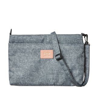 Out-of-the-go small side bag _Zoila gray-blue tannin double-layer crossbody bag