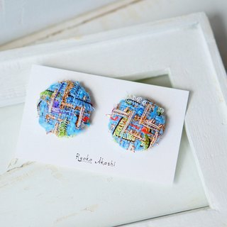 Walnut Button Earrings Blue Gold
