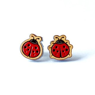 Painted wood earrings-ladybirds
