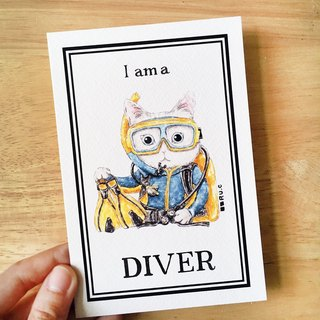 Postcard*My Volunteer*Cat Cat Diver