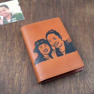 APEE leather handmade ~ extension image passport holder ~ light tea