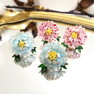 Miss Paranoid Paranoia Miss Flower King Double Color Dyed Peony Resin Earrings