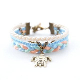 Turtle layered rope bracelet in Cream / sky blue / light mint / peach