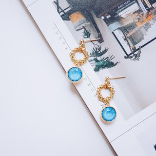 沁--Garland summer blue round crystal embellished earrings