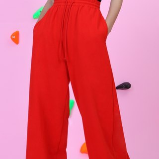 ARTERY WIDE SWEATPANTS full-length Elastic wide red trousers