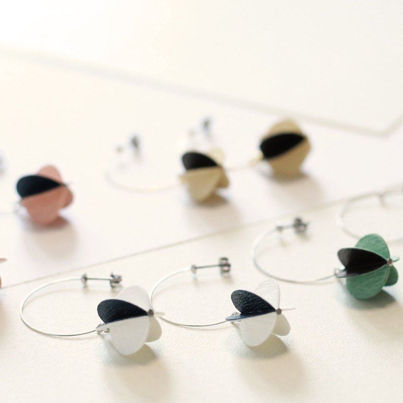 Ball hoop paper earrings