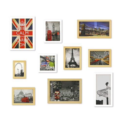HomePlus Photoframe LightBrown+White  Large Size 10PCS City Decor Loft
