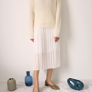 Cream Sweater Round Neck Rib Mohair Sweater Multicolor