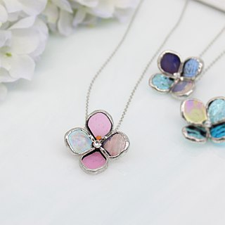 Of stained glass necklace [small flower one wheel] Pink