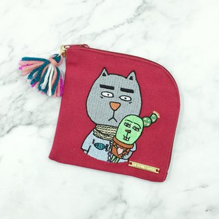 Illustration X Embroidered Cotton Canvas/ Non-woven Square Coin Purse - Gentle Fat Cat 2