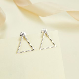 【PurpleMay Jewellery】18k White Gold Triangle Diamond Stud Earring E020