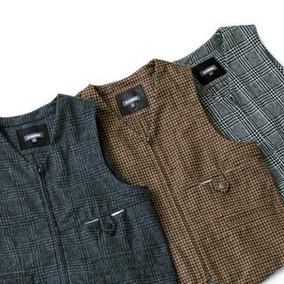 """BREATH HOLDER"" ZIPPER GILET -  TWEED"
