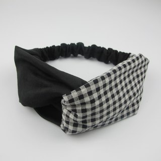 Black plaid - cross hair band