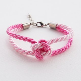 Pink and Light pink square knot rope bracelet