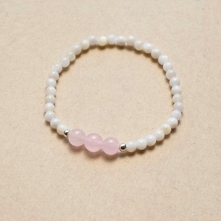 Sweet wind elegant girl natural pink crystal / white shell beads / silver spacer beads