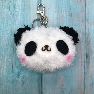 Panda - chubby wool animal key ring charm