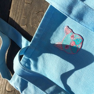 【Beginning of the course】 sharp Xili pink color fighting - light blue university / double cloth / inner bag / zipper / dual canvas bag