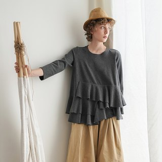 Dark gray irregular hem long sleeve top - imakokoni