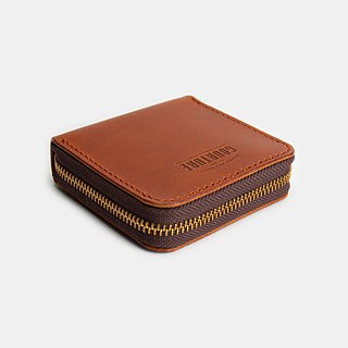 Square zip coin purse / card / banknote Buttero vegetable tanned leather Hull brown - GSW01BN